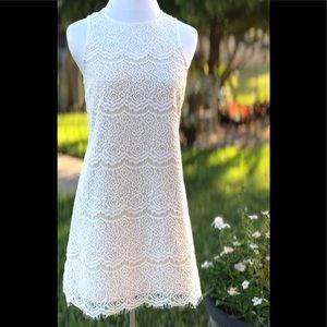 Bleuh Ciel White Lace A-Line Mini Shift Dress
